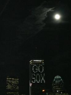 The Prudential Center was illuminated in support of the Red Sox during the series.