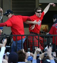 Papelbon got other Red Sox players, such as Mike Timlin, to join him in the fun.