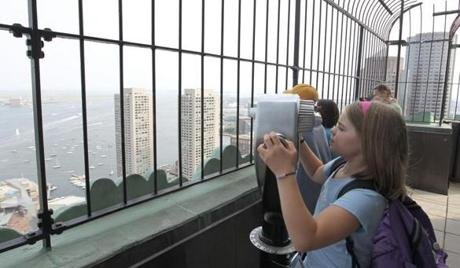 CUSTOM HOUSE OBSERVATION DECK    -Molly O'Toole of Arlington gets a sweeping view of the harbor from the 26th floor of the landmark building.