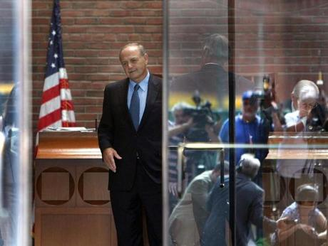 Convicted former House speaker Salvatore DiMasi left the Moakley Federal Courthouse after being sentenced to eight  years in prison for corruption.