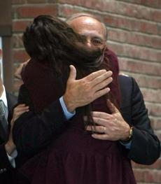 Salvatore DiMasi  embraced his stepdaugher Ashley in the lobby as he left the courthouse.