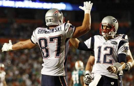 Rob Gronkowski caught one of Brady's four touchdown passes.