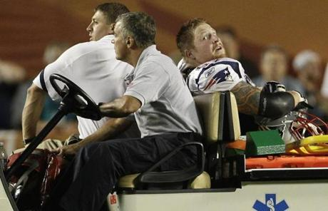 The Patriots lost center Dan Koppen to a left ankle injury during the game.