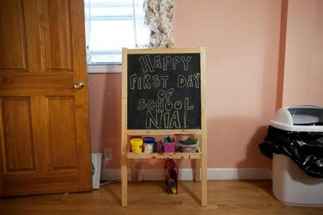 A message wishing Nia a happy first day of school was written on a chalkboard in the kitchen of the Phillips family.