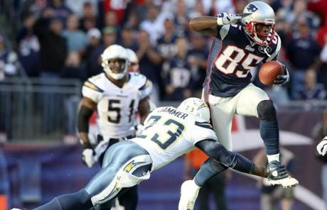 Ochocinco made his first significant contribution to the Patriots with two catches for 45 yards.