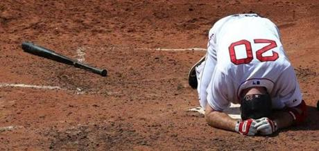 Kevin Youkilis, after getting hit by a pitch against the Blue         Jays, July 4, 2011 --
