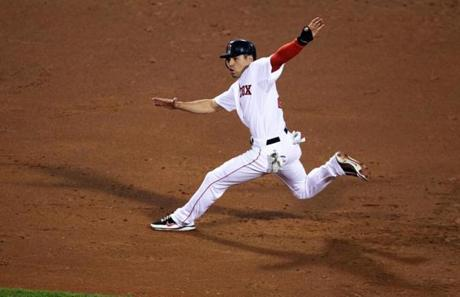Jacoby Ellsbury is in no-man's land on a line drive to Padres         pitcher Mat Latos, who dropped the ball and forced Ellsbury at         third base on the front end of a double play in which Dustin         Pedroia was out at second, June 21, 2011 --