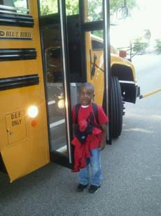 J'ovanni Thomas on his first day of kindergarten at the Conservatory Lab Charter School in Brighton.