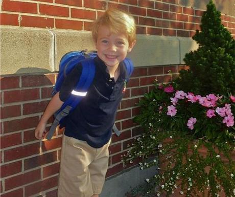 Jack Bertrand on his  first day at Warren-Prescott school in Charlestown.