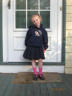Ita Berg on her first day of kindergarten at Mather Elementary School in Dorchester.