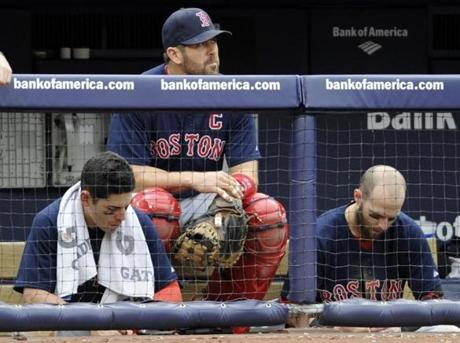 Jacoby Ellsbury, left, Jason Varitek, center, and Pedroia watched as the Yankees ran away with the opener of a doubleheader on Sept. 25. The Red Sox lost 6-2.