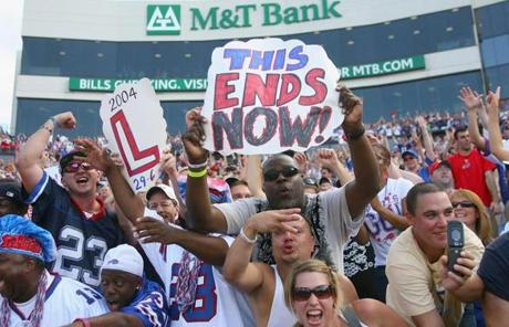 Bills fans were pumped up watching their team end a 15-game losing streak to New England. Their last win was in September 2003.