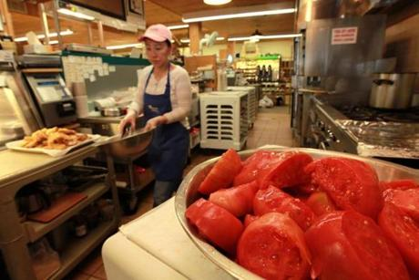 Fresh tomatoes are waiting to be used in sauces and other recipes in the kitchen prep area at Idylwilde Farms.