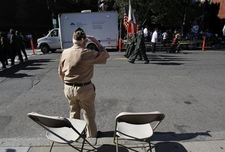 Boston, MA., 10/09/11, The Columbus Day Parade was held in the North End. Anthony Bocchino, cq, a past commander of North End Post 144 of the Veterans of Foreign Wars, salutes as the parade goes by. Section: Metro Suzanne Kreiter/Globe staff