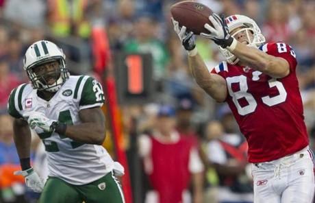 Wes Welker, often matched against Pro Bowl cornerback Darrelle Revis, caught five passes for 124 yards.