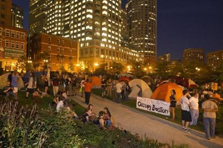 Many of the protesters retreated from the Greenway to Dewey Square when the police arrived.