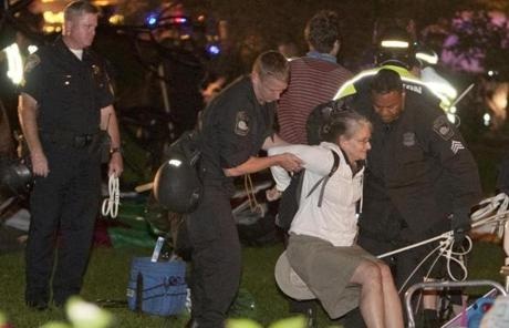 Police arrested a female Occupy Boston protester.