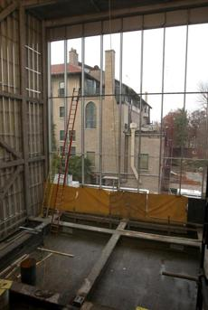 Boston, MA: 11-23-10: The original Isabella Stewart Gardner Museum building seen through windows of what will become a special exhibitions gallery in the new construction at the museum n Boston, Mass. November 23, 2010. Photo/John Blanding, Boston Globe staff Story/Geoff Edgers, Arts ( 05gardner ) 23artfacts