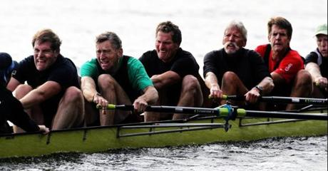 The Motley Rowing Club, competing in the senior master eights         at the Head of the Charles, Oct. 22, 2011. Left to right: Jim         Moroney, 58: ''Feeling bad. So why have I continued to do this         for 39 years? I guess because it makes everything else in life         so easy.'' Dick Dreissigacker, 64: ''This will only last a         finite amount of time. How many strokes to the finish?'' Peter         Dreissigacker, 60: ''Why am I still doing this? Gotta use it or         loose it.'' Casey Baker, 61: ''If I keep grimacing like this, my         dentures will fall out.'' Rob Buchanan, 53: ''500 meters to go?         You better be serious.' Mike Verlin, 60: ''I'm thinking ...         Rob's shirt is coming out. Should I tuck it back in?''