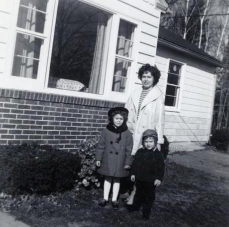 Vincent, roughly one and a half years old, with his mother and older sister, Sally, taken at their home in Westminster, MA.