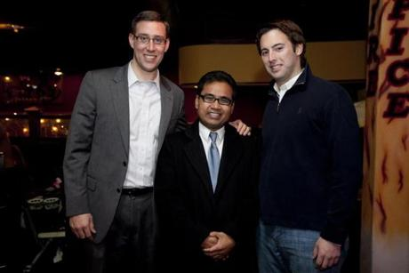 FOR Nowk. Lynn, MA 11/17/2011 City Councilors Dan Cahill (cq), left, and Brendan Crighton (cq), right, stand with newly elected City Councilor Hong Net (cq), center. City Councilor Hong Net (cq) shows up to the 4th Annual Neighbor Fest at Tatiana's Restaurant in Lynn, MA on Thursday, November 17, 2011. Net is one of two Cambodian Americans elected to a city council seat north of Boston. (Yoon S. Byun/Globe Staff) Section: Nowk Slug: 08no1lynn Reporter: laidler LOID: 5.0.533024120