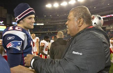 Also after the game, Brady shook hands with Chiefs defensive coordinator and former Pats coach Romeo Crennel.