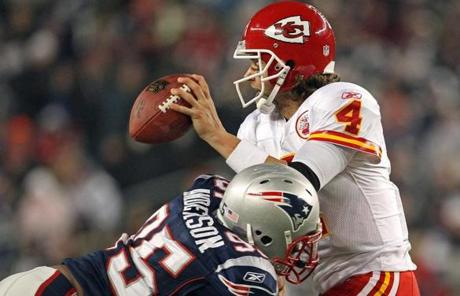 Mark Anderson sacked Tyler Palko in the third quarter.