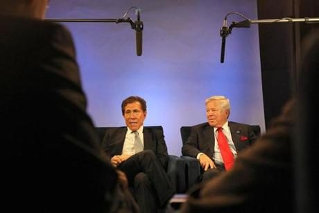 Forborough, MA., 12/05/11, Robert Kraft, right, and Steve Wynn, cq, talk to reporters about the casino plan in a studio at the Patriots complex. Section: Metro/Business. Suzanne Kreiter/Globe staff