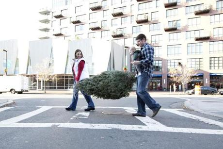 FOR METRO. Boston, MA 12/5/2011 Legrand, front right, and Shannon Reynolds (both cq), left back, walk home with their son Oliver, 4 months, and their new Christmas tree in the South End of Boston, MA on Monday, December 5, 2011. The family walked about six blocks back home with what is their son's first Christmas tree. (Yoon S. Byun/Globe Staff) Section: METRO Slug: n/a Reporter: n/a LOID: 5.0.426299454