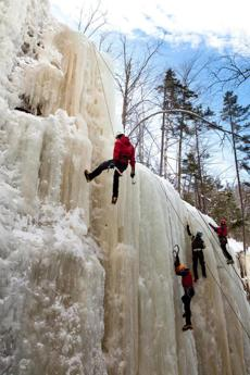 for Travel - 29icefest - Climbers top-rope at Champney Falls, a popular practice area off the idyllic Kancamagus Highway. (Dominic Casserly)