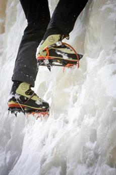 for Travel - 29icefest - Crampons, which are toothed platforms which attach to a climber's boots, allow upward movement on ice that would otherwise not be possible. (Dominic Casserly)
