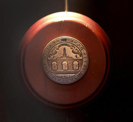 An early seal on display at Bank of America, which traces its roots to Massachusetts Bank, chartered in February 1784.