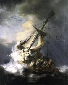 "A photo of the stolen Rembrandt ""Storm on the Sea of Galilee."""