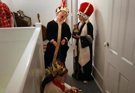 Stockbridge, VT - 12-18-11- The three kings Memphis Begin (cq , John Jacobsen and Wyatt Begin (sitting, cq) wait for their entrance into the Stockbridge Meeting House during the annual Christmas Pageant. (Globe staff photo / Bill Greene) section:met, reporter:filipov, topic:25irene