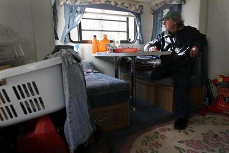 Stockbridge, VT - 12-12-11- Don Fielder (cq) sits in his RV after his home was was destroyed during the floods of Tropical Storm Irene. (Globe staff photo / Bill Greene) section:met, reporter:filipov, topic:25irene