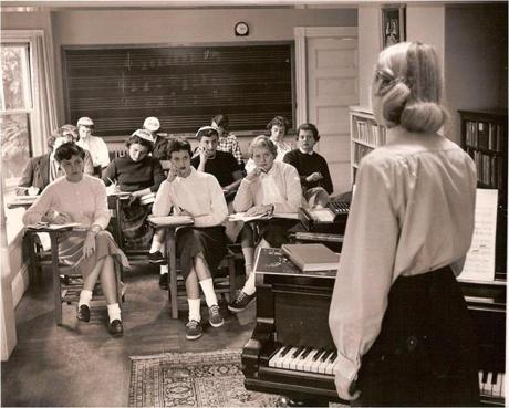 Pine Manor classroom in the institution's days as a finishing school.