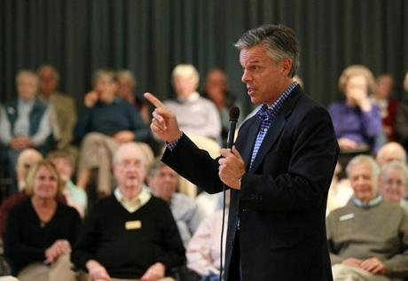 Jon Huntsman, at a campaign stop at a Hanover retirement community, is capturing support from independents who favor the policies of the Democratic Party.