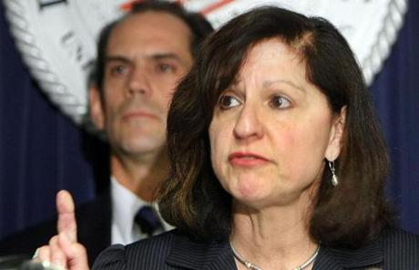 Carmen Ortiz spokein June at the US attorney's office following the arrest in California of reputed mobster James