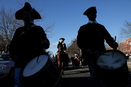 FOR Regional. Somerville, MA 1/1/2012 Former Chief of Police Robert Bradley (cq) dressed as George Washington departs with the procession from City Hall to Prospect Hill down Highland Ave. The 236th Anniversary of the Raising of the Great Union Flag is celebrated in Somerville, MA on Sunday, January 1, 2012. (Yoon S. Byun/Globe Staff) Section: Regional Slug: 02somerville Reporter: n/a LOID: 5.0.719098816