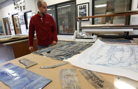NEEDHAM, MA -- Dec 22, 2011, -STAINED GLASS WINDOWS - Roberto Rosa (cq) of Serpentino Stained And Leaded Glass will be restoring the Tiffany stained glass windows from the the Church of the Covenant on Newbury St. which was vandalized. .(globe staff photo:Joanne Rathe section: metro reporter: peter schworm topic: xxtiffanyglass)