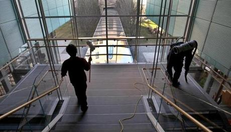 BOSTON, MA 01 / 06 / 2012: Central stairway being cleaned at The Isabella Stewart Gardner museum getting ready, the big run up to the opening of the Gardner's new building . ( David L Ryan / Globe Staff Photo ) SECTION: LIFESTYLE TOPIC : REPORTER Geof Edgers