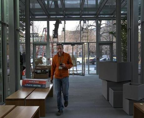 BOSTON, MA 01 / 06 / 2012: The Isabella Stewart Gardner museum getting ready, the big run up to the opening of the Gardner's new building with Jim Labeck, the project manager walking through front lobby of new wing. ( David L Ryan / Globe Staff Photo ) SECTION: LIFESTYLE TOPIC : REPORTER Geof Edgers