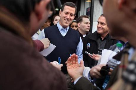 Amherst NH 01/07/2012 Republican Presidential candidate Rick Santorum visits Homestead Grocery& Deli in Amherst. He was leaving when he was asked for his autograph. Jonathan Wiggs Boston Globe Staff / Photographer Reporter:Section: Metro:Slug:Reporter: