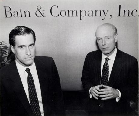 FOR USE IN THE BOSTON GLOBE ONLY. CALL PHOTO DESK FOR INQUIRIES. ROMNEYPROJECT Boston-October 29, 1990 William Bain Jr. (right) and W Mitt Romney, at Bains offices in Copley Plaza. Globe photo by Justine Schiavo . Romney Project PAPER Bain Capital investors at least doubled their money every year of Romneyís tenure, a return that would have built a $1,000 investment into nearly $40 million. William Bain Jr. (right) and W Mitt Romney, at Bains offices in Copley Plaza. Globe photo by Justine Schiavo . Library Tag 01272008 National/Foreign