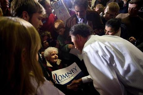 01/09/2012 - Bedford, NH - McKelvie Intermediate School - Mitt Romney took a moment to talk with Barbara Lee, cq, 90, of Bedford, MA. This was her first time meeting Romney, and she plans to cast her vote for him in the New Hampshire Primary.