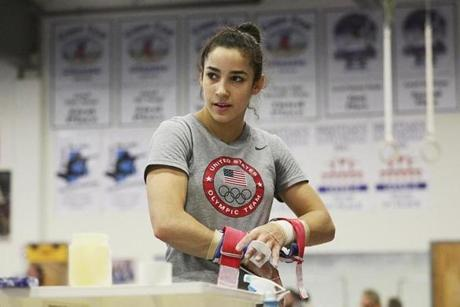 Raisman says the potential for competing in the Olympics motivates her. ''Every day I do think about it when I'm in the gym,'' Raisman said. ''When I think I can't do it any more, I think about the Olympics and just push myself to keep moving forward.''