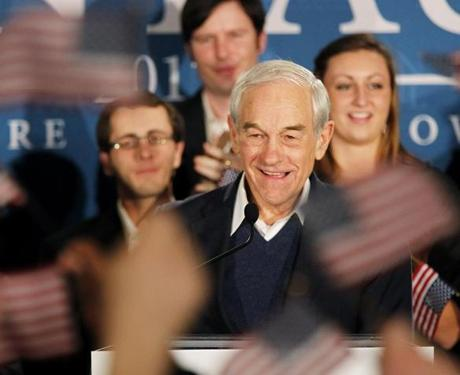 FOR National. Manchester, NH 1/10/2012 GOP presidential candidate Ron Paul greets the crowd before speaking. GOP presidential candidate Ron Paul speaks to supporters at his primary party at The Executive Court Banquet Facility in Manchester, NH on Tuesday, January 10, 2012. (Yoon S. Byun/Globe Staff) Section: National Slug: n/a Reporter: Bobby Calvan LOID: 5.0.750593221