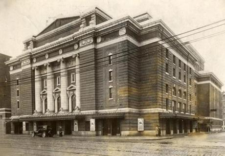Ideas/Print scan. Photo for story on Opera singers. Exterior view of Boston Opera House **Minimal info on original print. Print date of 4/25/1916.
