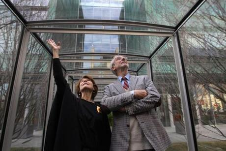 BOSTON, MA., 01/11/ 2012: A TOUR....Anne Hawley, Norma Jean Calderwood director of the Isabella Stewart Gardner Museum with Architect Renzo Piano doing a walk through the glass tunnel connecting the new and old at The Gardner Museum unveils its new building to the media. ( David L Ryan / Globe Staff Photo ) SECTION: LIFESTYLE TOPIC :12gardner REPORTER