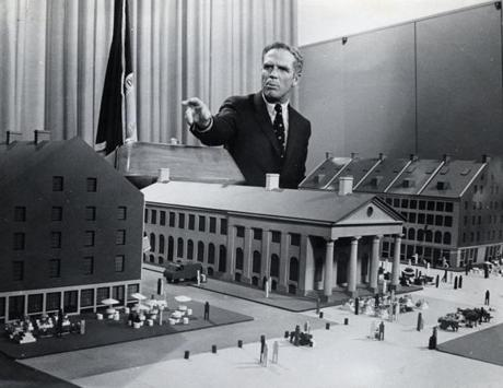 5/6/1970 Mayor Kevin White with redevelopment program of Faneuil Hall Plaza.